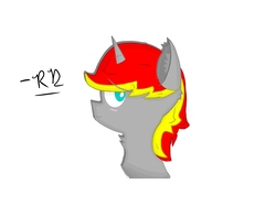 Size: 2048x1536 | Tagged: safe, alternate version, artist:rubydeluxe, derpibooru exclusive, oc, oc only, oc:rd, alicorn, alicorn oc, blushing, colored, digital art, ear fluff, horn, looking at you, male, neck fluff, shading, simple background, smiling, solo
