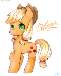 Size: 820x1022 | Tagged: safe, artist:magicalofbookstar, artist:pink-candyoo, applejack, earth pony, pony, cowboy hat, female, hat, mare, simple background, solo, transparent background