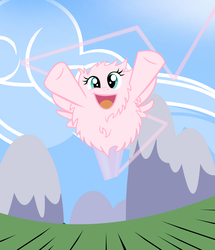 Size: 1888x2200 | Tagged: artist:succubi samus, cloud, commission, cute, derpibooru exclusive, fast, fluffy, flying, mountain, oc, oc:fluffle puff, pegasus, safe, smiling, speed lines