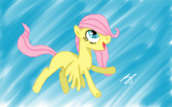 Size: 1280x800 | Tagged: safe, artist:perplexedpegasus, fluttershy, pegasus, pony, amazed, blank flank, female, filly, filly fluttershy, flying, hair over one eye, looking up, open mouth, smiling, solo, spread wings, wings, younger