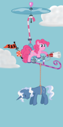 Size: 2000x4000 | Tagged: artist:paintdrinkingpete, earth pony, female, helicopter, male, mare, pinkiecopter, pinkie pie, pokey pierce, pony, rescue, safe, stallion, unicorn