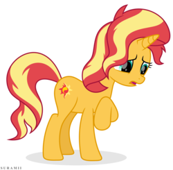 Size: 5984x5874   Tagged: safe, artist:suramii, sunset shimmer, pony, unicorn, equestria girls series, forgotten friendship, absurd resolution, female, mare, movie accurate, open mouth, raised hoof, sad, simple background, solo, toon boom, transparent background, vector