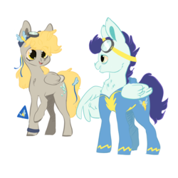 Size: 1024x1024 | Tagged: artist:arist-o-cat, clothes, derpin', derpy hooves, female, goggles, male, mare, pegasus, pony, safe, shipping, soarin', stallion, straight, uniform, wonderbolts uniform