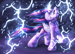Size: 2250x1625 | Tagged: alicorn, artist:shad0w-galaxy, badass, female, glowing horn, gritted teeth, lightning, mare, pony, safe, serious, serious face, solo, twilight sparkle, twilight sparkle (alicorn)