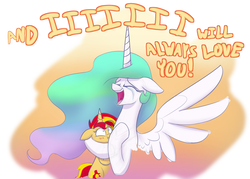 Size: 1400x1000 | Tagged: safe, artist:heir-of-rick, princess celestia, sunset shimmer, alicorn, pony, unicorn, equestria girls, equestria girls series, forgotten friendship, bear hug, blushing, crying, cute, cutelestia, daaaaaaaaaaaw, dolly parton, eyes closed, female, hape, headlock, hug, i will always love you, it happened, mare, momlestia, open mouth, reunion, shimmerbetes, singing, song reference, spread wings, tears of joy, the prodigal sunset, whitney houston, wings