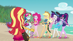 Size: 1920x1080 | Tagged: safe, edit, edited screencap, screencap, applejack, fluttershy, pinkie pie, rainbow dash, rarity, sci-twi, spike, spike the regular dog, sunset shimmer, twilight sparkle, dog, equestria girls, equestria girls series, forgotten friendship, angry, argument, beach, cap, clothes, cutie mark, cutie mark on equestria girl, discussion in the comments, diving suit, dork, feet, flip-flops, geode of empathy, geode of fauna, geode of sugar bombs, geode of super speed, geode of super strength, geode of telekinesis, glasses, hat, magical geodes, mane six, meme, midriff, one-piece swimsuit, sandals, sarong, schrödinger's pantsu, shorts, sun hat, swimsuit, waifu thief, wetsuit