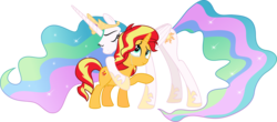 Size: 5053x2218 | Tagged: safe, artist:jhayarr23, princess celestia, sunset shimmer, alicorn, pony, unicorn, equestria girls, equestria girls series, forgotten friendship, crying, duo, eyes closed, forgiveness, heartwarming, hug, it happened, momlestia, reconciliation, reunion, simple background, tears of joy, the prodigal sunset, transparent background, vector