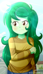 Size: 920x1560 | Tagged: safe, artist:the-butch-x, wallflower blush, equestria girls, equestria girls series, forgotten friendship, blushing, clothes, cute, female, flowerbetes, freckles, long hair, looking away, pants, solo, sweater