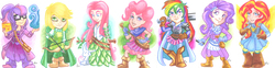 Size: 1854x461 | Tagged: safe, artist:luxshine, applejack, fluttershy, pinkie pie, rainbow dash, rarity, sci-twi, sunset shimmer, twilight sparkle, human, rabbit, equestria girls, arrow, book, bow (weapon), bow and arrow, clothes, crossover, dungeons and dragons, fantasy class, humane five, humane seven, humane six, humanized, long skirt, lute, mace, magic, musical instrument, skirt, staff, sword, weapon
