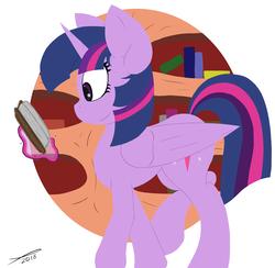 Size: 2560x2500   Tagged: safe, artist:platenjack, twilight sparkle, alicorn, pony, book, bookshelf, female, golden oaks library, horn, reading, solo, twilight sparkle (alicorn), walking, wings