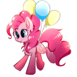 Size: 1000x1000 | Tagged: safe, artist:heddopen, pinkie pie, earth pony, pony, :p, balloon, blushing, chest fluff, cute, diapinkes, ear fluff, female, floating, mare, silly, simple background, solo, then watch her balloons lift her up to the sky, tongue out, underhoof, white background