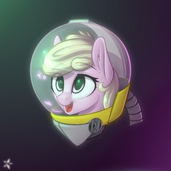 Size: 2160x2160   Tagged: safe, artist:starfall-spark, oc, oc only, oc:puppysmiles, earth pony, pony, fallout equestria, fallout equestria: pink eyes, bust, canterlot ghoul, cute, female, filly, hazmat suit, heads up display, hud, open mouth, portrait, simple background, smiling, solo