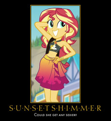 Size: 576x628 | Tagged: safe, edit, screencap, sunset shimmer, equestria girls, equestria girls series, forgotten friendship, arm behind head, belly button, clothes, female, hand on hip, motivational poster, pose, smiling, solo, sunset selfie, swimsuit