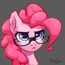 Size: 2000x2000 | Tagged: safe, artist:inowiseei, pinkie pie, earth pony, pony, :<, bust, chest fluff, cute, diapinkes, ear fluff, female, fluffy, glare, glasses, gray background, mare, pinkie specks, ponk, portrait, pouting, serious, serious face, simple background, solo, sparkles, starry eyes, when she doesn't smile, wingding eyes