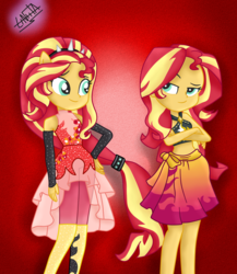 Size: 1300x1500 | Tagged: safe, artist:liniitadash23, sunset shimmer, equestria girls, equestria girls series, forgotten friendship, alternate hairstyle, clothes, crossed arms, dress, gradient background, ponied up, red background, simple background, swimsuit