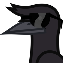 Size: 458x458 | Tagged: artist:lightningbolt, bird, bust, cool crow, crow, derpibooru, derpibooru badge, derpibooru exclusive, meta, no pony, portrait, safe, simple background, solo, sunglasses, svg, .svg available, too cool for school, transparent background, vector