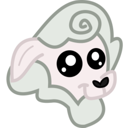 Size: 260x260 | Tagged: safe, artist:lightningbolt, derpibooru exclusive, sheep, derpibooru, .svg available, april fools, april fools 2017, april fools joke, bust, derpibooru badge, disembodied head, floppy ears, head, meta, not a llama, portrait, simple background, smiling, solo, svg, transparent background, vector