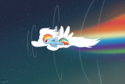 Size: 4600x3100   Tagged: safe, artist:fluffyxai, rainbow dash, pegasus, pony, cute, dashabetes, featured image, female, filly, filly rainbow dash, flying, inspirational, mare, open mouth, rainbow, silhouette, sky, smiling, solo, sonic rainboom, spread wings, stars, wings, younger