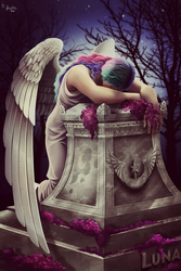 Size: 1280x1920 | Tagged: angel of grief, artist:das_leben, beautiful, clothes, crying, feels, female, fine art parody, flower, gravestone, grieving, human, humanized, implied death, kneeling, night, princess celestia, sad, safe, solo, stars, tree, william wetmore story, winged humanization, wings