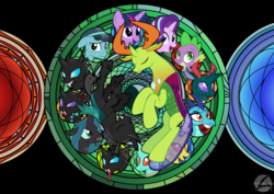 Size: 1052x744 | Tagged: alicorn, artist:ashidaru, changedling, changeling, crystal hoof, disguised changeling, dive to the heart, duality, kingdom hearts, king thorax, pharynx, prince pharynx, princess ember, queen chrysalis, safe, spike, stained glass, starlight glimmer, thorax, twilight sparkle, twilight sparkle (alicorn)
