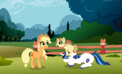 Size: 1412x860   Tagged: safe, artist:saphi-boo, applejack, shining armor, oc, pony, unicorn, female, filly, male, offspring, parent:applejack, parent:shining armor, parents:shiningjack, shiningjack, shipping, straight