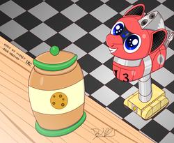 Size: 2000x1640 | Tagged: safe, artist:bugatti2005, oc, oc only, oc:trackhead, original species, pony, robot, robot pony, wheelpone, cookie, cookie jar, cute, food, lifting, shelf, solo