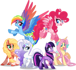 Size: 6000x5499 | Tagged: safe, artist:orin331, applejack, fluttershy, pinkie pie, rainbow dash, rarity, twilight sparkle, earth pony, pegasus, pony, unicorn, leak, spoiler:g5, absurd resolution, applejack (g5), blaze (coat marking), braid, coat markings, colored pupils, colored wings, colored wingtips, cute, earth pony twilight, feathered fetlocks, female, fluttershy (g5), flying, g5, gradient mane, grin, leg fluff, lidded eyes, long mane, looking back, mane six, mane six (g5), mare, multicolored wings, open mouth, pegasus pinkie pie, pinkie pie (g5), race swap, rainbow dash (g5), rainbow wings, raised hoof, rarity (g5), simple background, smiling, smirk, socks (coat marking), transparent background, twilight sparkle (g5), unicorn fluttershy, unshorn fetlocks