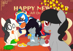 Size: 1024x718 | Tagged: safe, artist:t-aroutachiikun, oc, oc only, oc:azure splash, oc:demon soul, oc:miji, oc:obscure requiem, dracony, dragon, earth pony, hybrid, pony, wolf, wolf pony, chibi, chinese new year, clothes, female, male, mare, rabbit pony, scarf, stallion