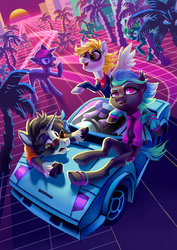 Size: 2480x3507 | Tagged: safe, artist:holivi, derpy hooves, oc, oc:moondrive, oc:sentinel, bat pony, pegasus, pony, unicorn, bat pony oc, car, derpfest, outrun, racing, retrowave