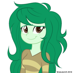 Size: 900x900 | Tagged: safe, artist:wubcakeva, wallflower blush, equestria girls, equestria girls series, forgotten friendship, clothes, cute, female, flowerbetes, freckles, green, simple background, smiling, solo, sweater, transparent background