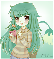 Size: 1300x1411 | Tagged: anime, artist:wolfchen999, clothes, cute, equestria girls, equestria girls series, female, flowerbetes, forgotten friendship, freckles, pants, plant, safe, solo, sweater, wallflower and plants, wallflower blush