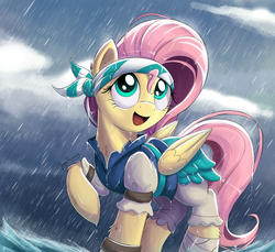 Size: 1925x1760 | Tagged: artist:bugplayer, bandage, braid, chest fluff, clothes, cute, ear fluff, female, fluttershy, headband, leg fluff, mare, my little pony: the movie, open mouth, pegasus, pirate, pirate fluttershy, pony, rain, raised hoof, safe, shyabetes, signature, solo
