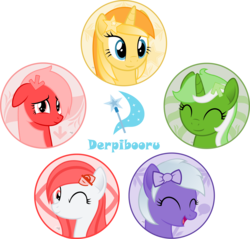 Size: 2500x2393   Tagged: safe, artist:arifproject, oc, oc only, oc:comment, oc:downvote, oc:favourite, oc:hide image, oc:upvote, pony, derpibooru, arif's circle vector, bust, circle, cute, derpibooru ponified, eyes closed, hair over one eye, high res, meta, one eye closed, ponified, simple background, smiling, transparent background, vector, wink
