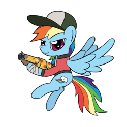 Size: 1280x1280   Tagged: safe, artist:phat_guy, derpibooru exclusive, rainbow dash, pegasus, pony, bandage, clothes, crossover, determined, female, flying, food, gun, hat, hoof hold, jacket, mare, pizza, pizza delivery, rainbow scout, scattergun, scout, simple background, smiling, solo, spread wings, team fortress 2, transparent background, video game, weapon, wings