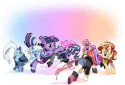 Size: 1280x866 | Tagged: safe, artist:quizia, moondancer, starlight glimmer, sunset shimmer, trixie, twilight sparkle, pony, unicorn, equestria girls, mirror magic, spoiler:eqg specials, beanie, boots, clothes, counterparts, cute, dancerbetes, diatrixes, dress, equestria girls outfit, glasses, glimmerbetes, hat, horn, jacket, leather jacket, magical quintet, shimmerbetes, shoes, shorts, skirt, skirt lift, socks, sweater, torn clothes, twiabetes, twilight's counterparts
