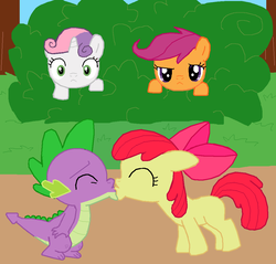 Size: 1054x1007 | Tagged: apple bloom, artist:majkashinoda626, blank flank, bush, caught, cute, cutie mark crusaders, dragon, female, filly, kissing, love, male, pony, safe, scootaloo, shipping, spike, spikebloom, straight, surprised, sweetie belle