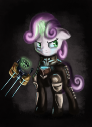 Size: 1774x2432 | Tagged: safe, artist:qbellas, sweetie belle, pony, unicorn, armor, clothes, crossover, dead space, female, filly, magic, plasma cutter, simple background, solo, suit, weapon