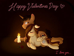 Size: 1024x768 | Tagged: safe, artist:vampteen83, oc, oc only, oc:daydream, oc:mix amaze, pegasus, pony, blushing, candle, female, flower, holiday, male, mare, oc x oc, prone, rose, shipping, stallion, valentine's day