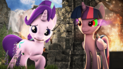 Size: 1280x720 | Tagged: 3d, alicorn, artist:redaceofspades, dark magic, female, magic, mare, pony, safe, smiling, sombra eyes, source filmmaker, starlight glimmer, twilight sparkle, twilight sparkle (alicorn)
