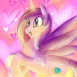 Size: 1000x1000 | Tagged: alicorn, artist:ryuredwings, cute, cutedance, female, glow, gradient background, happy, heart, mare, open mouth, pony, princess cadance, raised hoof, rearing, safe, smiling, solo, spread wings, wings