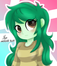 Size: 1414x1616   Tagged: safe, artist:rivin177, wallflower blush, equestria girls, equestria girls series, forgotten friendship, abstract background, blushing, clothes, female, heart eyes, pun, solo, sweater, visual pun, wingding eyes