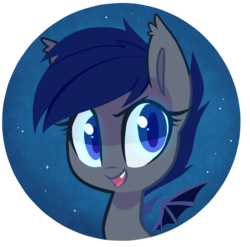 Size: 981x971 | Tagged: artist:meekcheep, badge, bat chat, bat pony, bat wings, bust, button, colored pupils, cute, cute little fangs, ear fluff, fangs, female, looking at you, mare, night, night sky, oc, oc only, oc:shift, portrait, safe, sky, smiling, solo, spread wings, teeth, wings