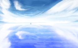 Size: 1680x1050 | Tagged: safe, artist:an-m, pony, cloud, food, reflection, salt, sky, solo