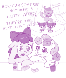 Size: 800x947 | Tagged: apple bloom, artist:dstears, bendy straw, bipedal, chocolate, chocolate milk, cutie mark crusaders, dialogue, drink, drums, earth pony, existential crisis, eyes closed, female, filly, food, juice, juice box, marks and recreation, milk, monochrome, open mouth, pegasus, pony, purple, safe, scootadrum, scootaloo, simple background, singing, song reference, sweetie belle, time to be awesome, timpani, trio, trio female, unicorn, white background