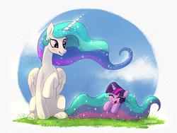 Size: 1200x900 | Tagged: safe, artist:scheadar, princess celestia, twilight sparkle, alicorn, pony, unicorn, blushing, cloud, cute, cutelestia, daaaaaaaaaaaw, female, filly, happy, laughing, mare, momlestia, sitting, sky, sparkling, twiabetes, unicorn twilight, weapons-grade cute