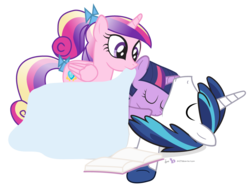Size: 1120x840 | Tagged: artist:dm29, female, filly, princess cadance, safe, shining armor, sleeping, tucking in, twilight sparkle