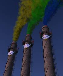 Size: 1500x1800 | Tagged: safe, fanfic:rainbow factory, chimney, industry, no pony, smoke