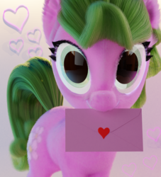 Size: 2000x2200 | Tagged: 3d, artist:gabe2252, blender, daisy, earth pony, envelope, female, flower wishes, fluffy, heart, holiday, mare, pony, safe, solo, valentine, valentine's day