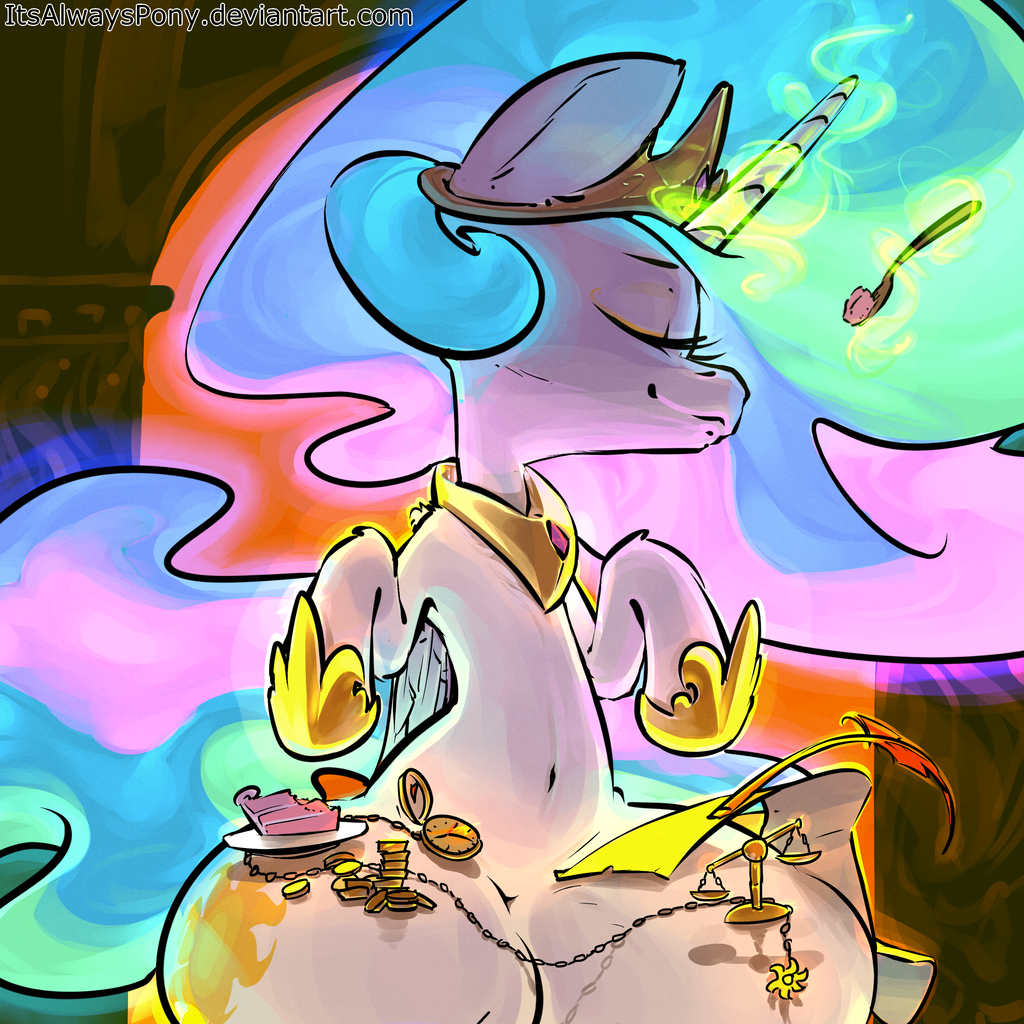 1663329 - alicorn, artist:itsalwayspony, belly button, cake, crown ...