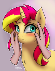 Size: 2000x2600 | Tagged: safe, artist:hardbrony, sunset shimmer, human, pony, unicorn, blushing, cheek fluff, cheek rub, chest fluff, cute, daaaaaaaaaaaw, disembodied hand, female, hand, human on pony petting, mare, petting, shimmerbetes, simple background, solo focus, touching face